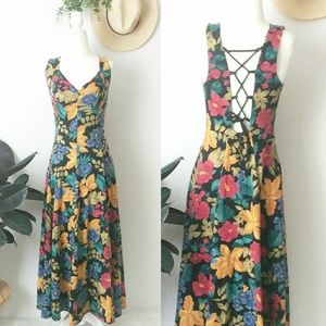 90s Vintage Hawaiian Lace Up Low Back Midi Dress M